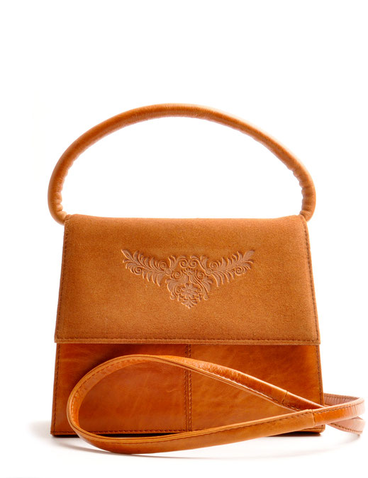 OWA Tracht Henkeltasche Desiree in cognac . Ledertasche