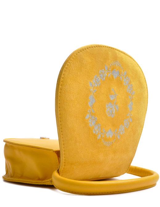 Dirndltasche gelb aus Leder