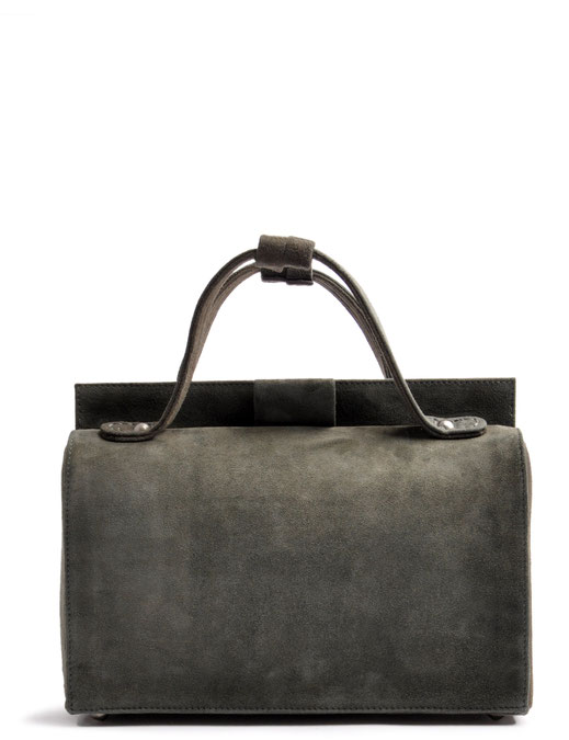 Nostalgische Tasche ESTELLE Leder grau OSTWALD Tradition