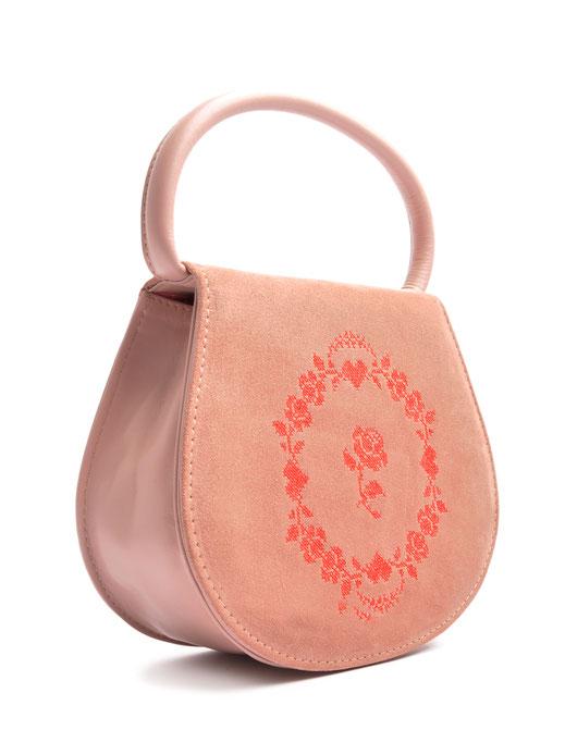 Dirndltasche rosa. Trachtentasche Leder mit Stickerei