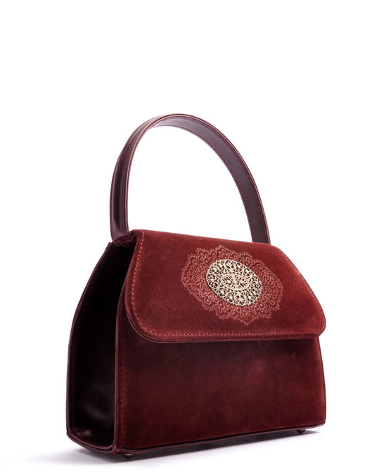 Trachtentasche EMMA Leder bordeaux OSTWALD Traditional Craft