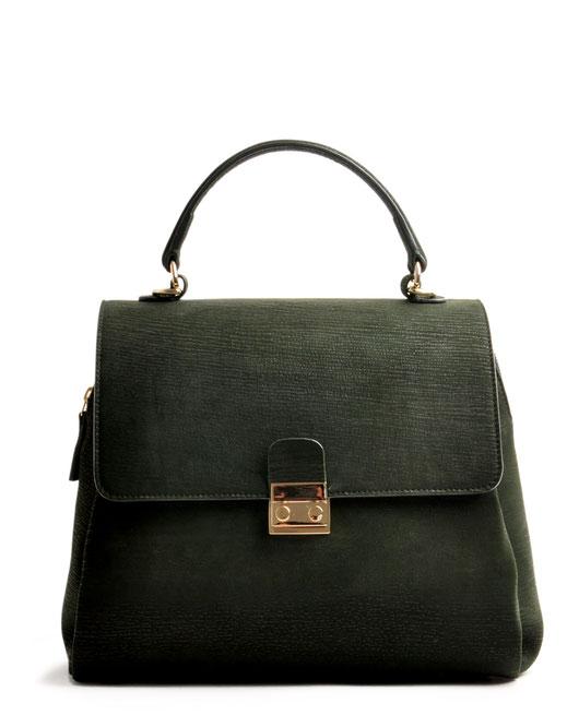 Online-Shop OWA Tracht  exklusive  Trachtentasche CLOE versandkostenfrei kaufen. grün. Hochwertiges Rindleder. Handlebag . Shoulderbag .  Frontalansicht goldene Beschläge