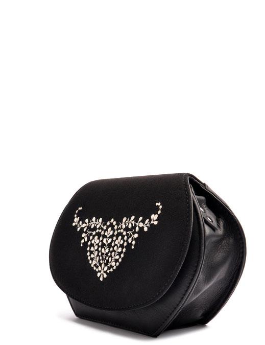 Dirndltasche  Schultertasche ANNA schwarz Leder  mit  Stickerei OSTWALD Traditional Craft