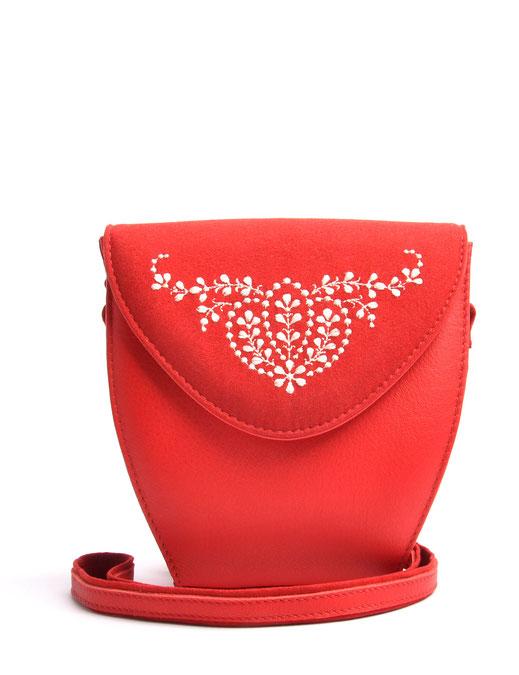 Wiesntasche Trachtentasche MARLA Leder rot  mit Stickerei OSTWALD Traditional Craft