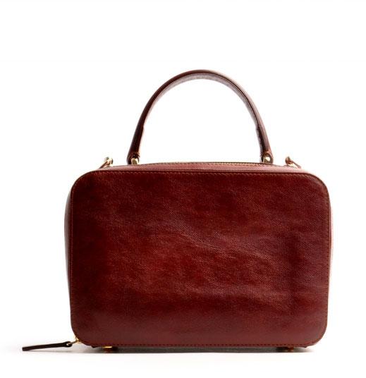 """""""VIRGENIE"""" Tasche Vintage-Look Ledertasche Dirndltasche Trachtentasche versandkostenfrei kaufen. Farbe braun OWA TRACHT Frontansicht"""