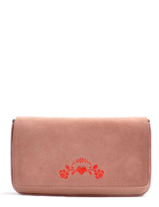Dirndltasche in rose, mit Rosenstickerei, echt Leder . OSTWALD Traditional Craft