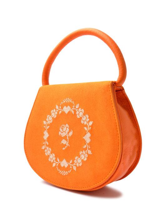 Dirndltasche orange Trachtentasche Leder OSTWALD Traditional Craft
