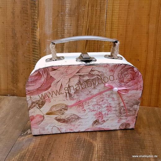 Kleiner Koffer Geschenkverpackung shabby Deko rosa Rosen