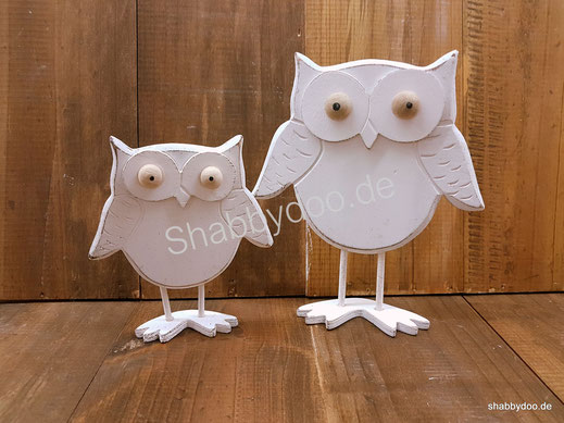 Weiße Eulen Dekofiguren aus Holz