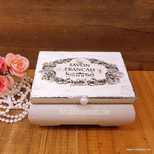 Schmuckkästchen Holz shabby vintage mit French Label