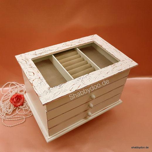 Weißer Schmuckkasten mit feiner Struktur in braun 3 Schubladen