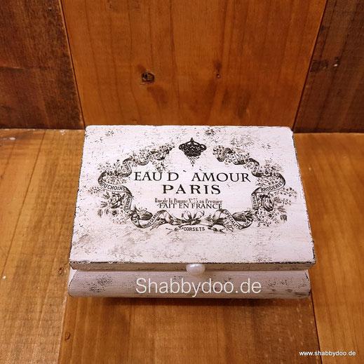 Schmuckkästchen weiß Holz shabby vintage mit French Label