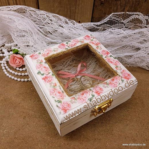 Ring Box Hochzeit shabby weiß rosa Rosen