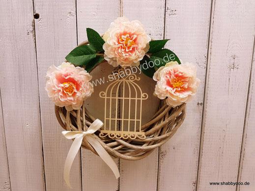 Türkranz Frühling mit Blumen Deko Vogelkäfig