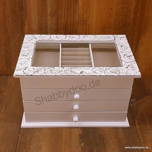 Weißer Schmuckkasten mit feiner Struktur 3 Schubladen