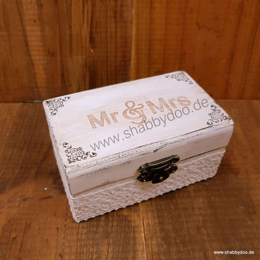 Ringkissen Holz Mr und Mrs vintage Jute und Spitze