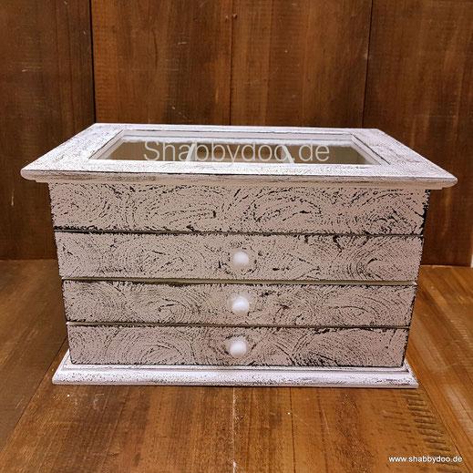 Weißer Schmuckkasten mit marmoriert 3 Schubladen