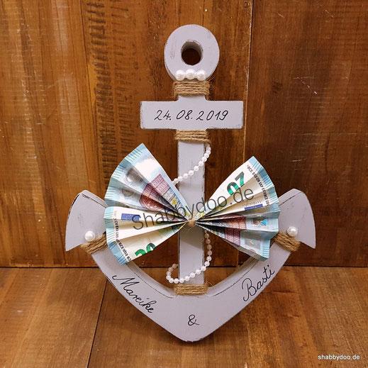 Geldgeschenk Hochzeit maritim Anker personalisiert