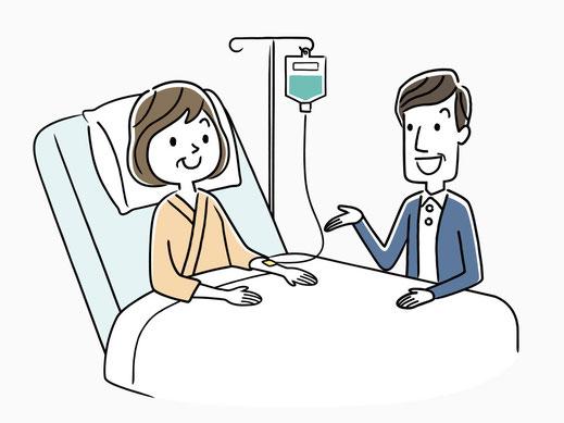 妻の入院に付き添う夫のイメージイラスト