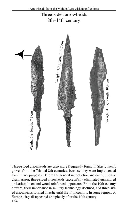 Arrowheads from the Middle Ages with tang fixation  - three-sided arrowheads 8th - 14th century