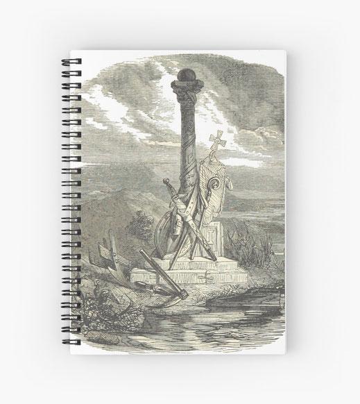 spiralbuch-notizbuch-krieg-mahnmal-krieger-kämpfer-soldaten-waffen-schlacht-schwert-gewehr-vorderlader-hinterlader-kanone-bombarde-säule-obelisk-heldentum-held-feldzug-banner-flagge-fahne