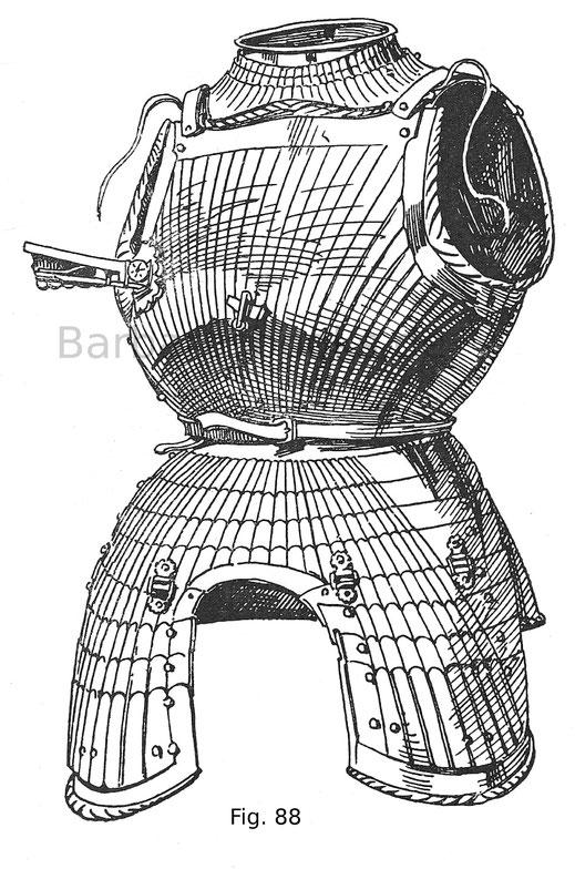 Fig. 88. Brust mit Kragen, Bauchreifen und geschobenen Beintaschen von einem (geriffelten) Maximiliansharnisch des Ruprecht von der Pfalz (gest. 1504). Deutsche Arbeit um 1500.