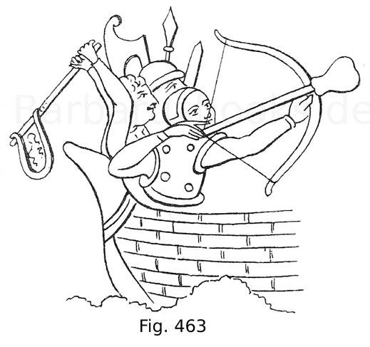 Fig. 463. Gruppen von Bewaffneten, darunter einer mit einer Armbrust, der andere mit einer Stockschleuder. Miniatur aus einem Manuskript des Matheus Paris, 13. Jahrhundert, in der Bibliothek des Benet College in Cambridge. Nach Hewitt.