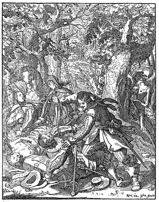 Landstreicher im Dreißigjährigem Krieg. Kupferstich von R. Meyer.