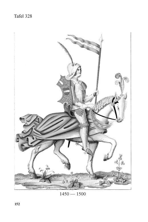 Reiterbild Ritter in voller Prunkrüstung mit Fahne 15. Jahrhundert.