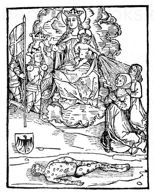 """Die Madonna und das Christkind als Retter bei der Franzosenkrankheit (Syphilis), Titelbild des Grünpeckschen Traktates über die """"wilden Warzen"""", 1496."""