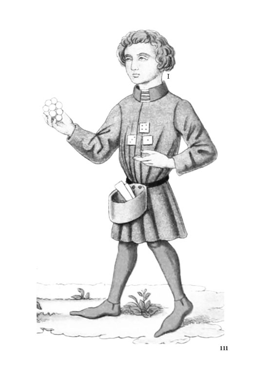 Detailzeichnung eines Mannes in Tracht des Mittelalters aus Deutschland