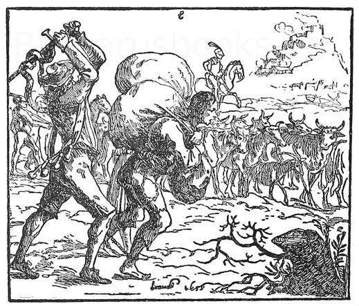 Plündernde Soldaten im Dreißigjährigen Krieg. Kupferstich von H. U. Franck.