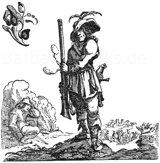 Schildwache im Dreißigjährigem Krieg. Kupferstich aus C. Richter, Soldatenleben.
