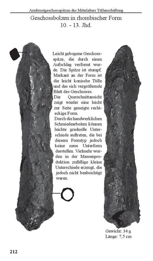 Armbrustbolzen des Mittelalters in rhombischer Form Tüllenschäftung Tülle