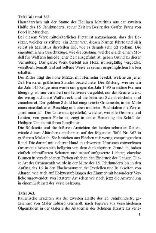 Beschreibungstexte von Trachten Gerätschaften und Waffen des Mittelalters