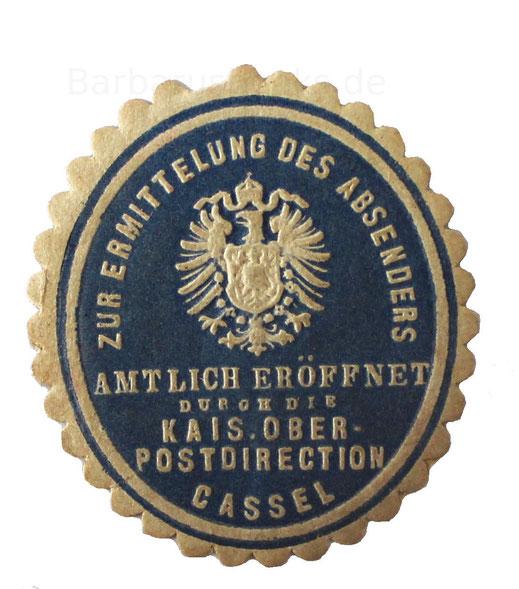 Post Amtssiegel Papiersiegel Cassel Preußen