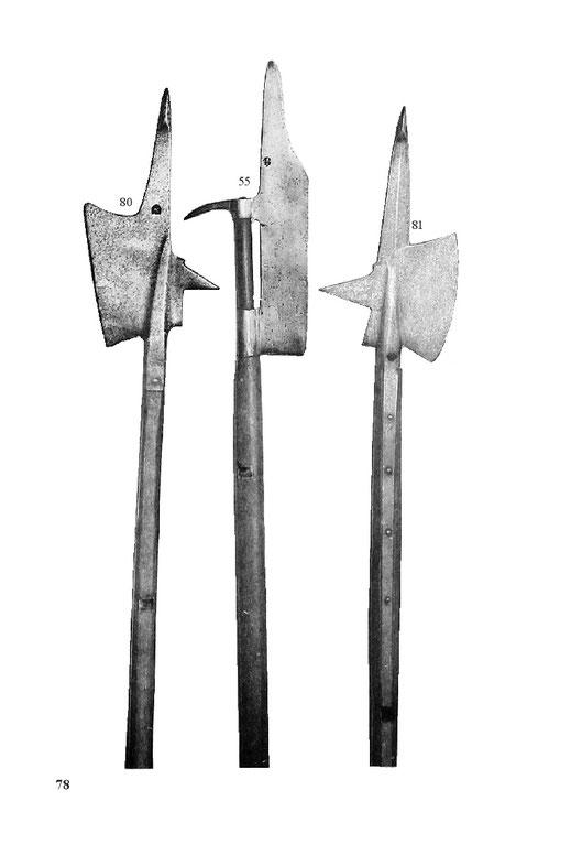Helmbarten, frühgotische Hellebarden Mittelalter
