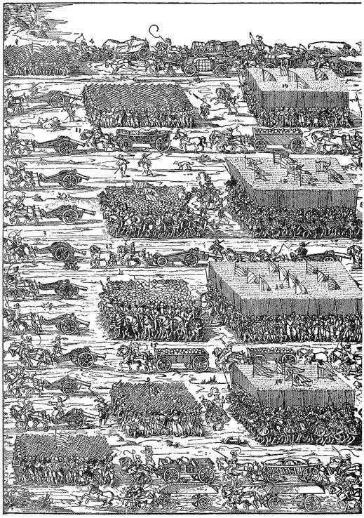 Truppenzug, 1572. Stich von Jost Amman. Berlin, Kupferstichkabinett.