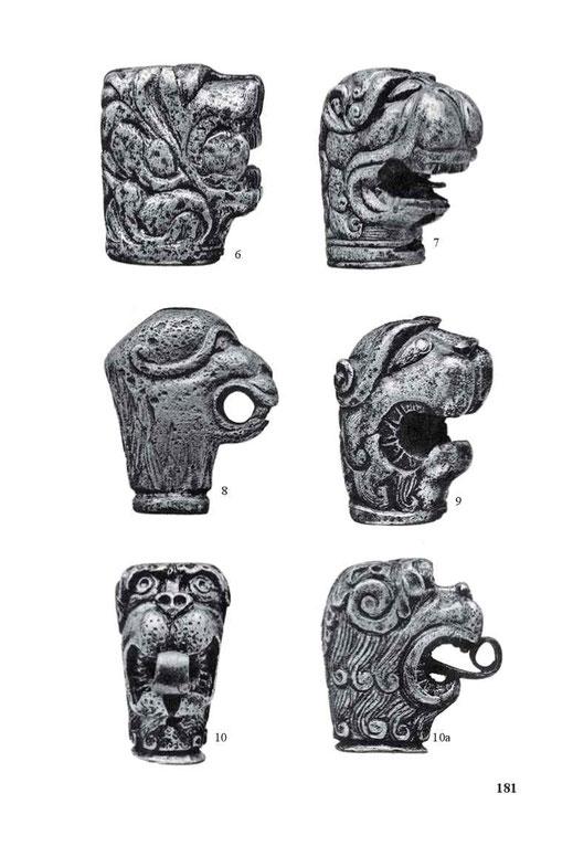 Löwenkopfknäufe vom Ende des 16. und aus der ersten Hälfte des 17. Jahrhunderts.