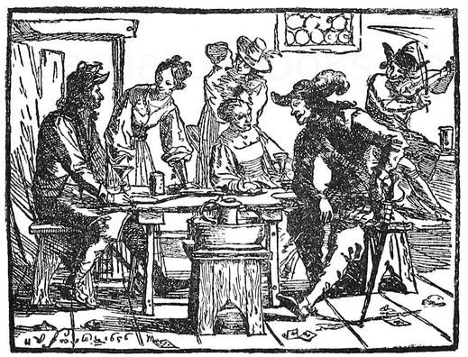 Soldaten im Wirtshaus. Kupferstich von H. U. Franck 1656.
