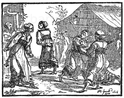 Streitende Weiber. Kupferstich von H. U. Franck 1656.