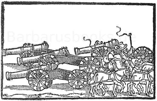 Munitionskolonnen. Holzschnitt aus Golms, Kriegsbuch 1559 - 1560.