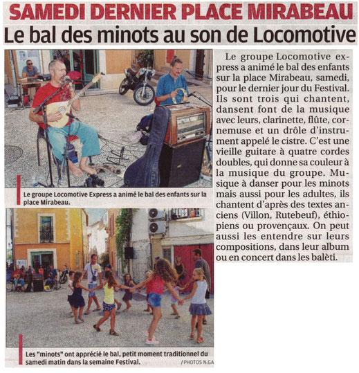 Article de la Provence 31/07/2017