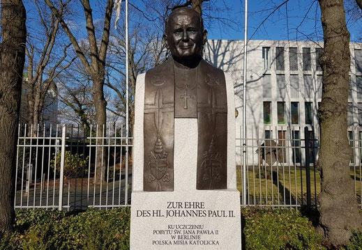 Beeld van wijlen paus Johannes Paulus II (Karol Józef Wojtyła, geboren te Wadowice in Polen)