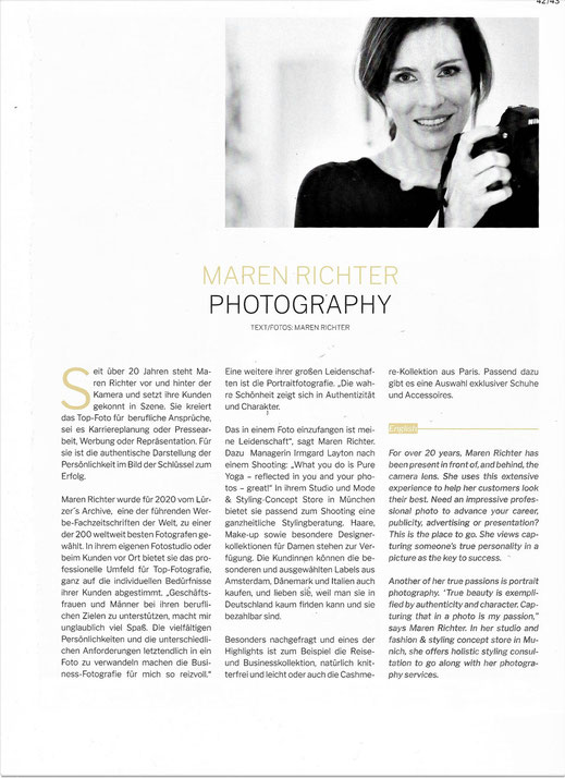 Artikel über Maren Richter Fotografin in München