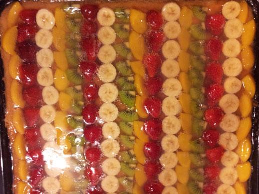 Gelee - gemischtes Obst - Kuchen