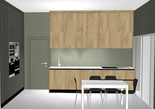 Projet de cuisine à Talence par MP intérieurs, Architecte d'intérieur UFDI : projet 3D avec vue sur linéaire de travail.