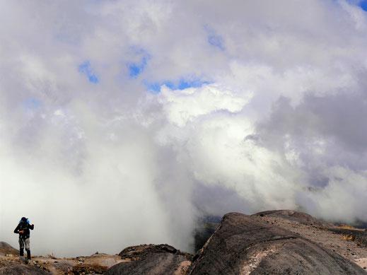 Mit zunehmender Höhe treffen wir auf Wolkenfelder, Los Nevados, Kolumbien (Foto Jörg Schwarz)