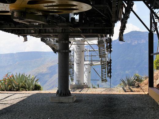 Die riesigen Antriebsräder der fantastischen Seilbahn, NP Chicamocha, Kolumbien (Foto Jörg Schwarz)