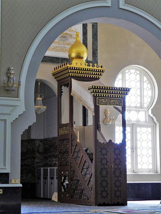 Die Minbar der Ubudiah Moschee, Kuala Kangsar, Malaysia (Foto Jörg Schwarz)